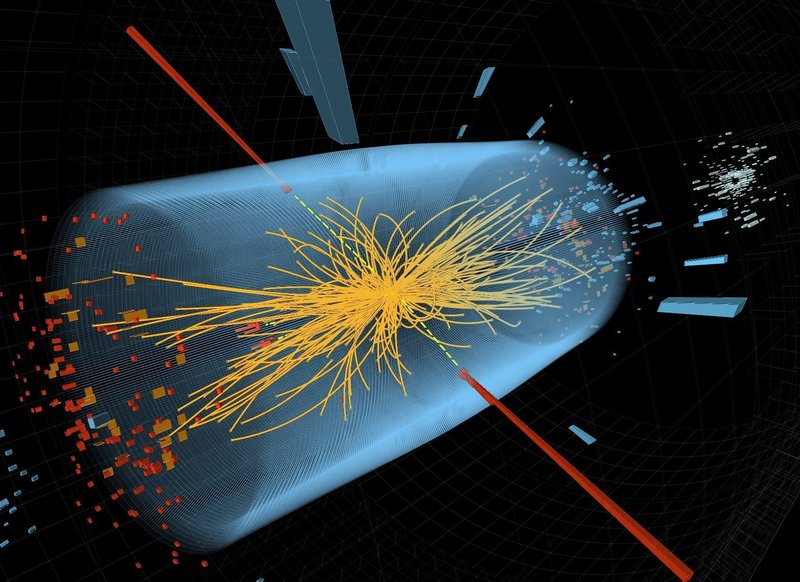 """Image shows two high-energy photons' energy depicted by red towers. Yellow lines are the tracks of other particles produced in the collision. CERN says data from 2012 shows a version of the """"God particle."""""""
