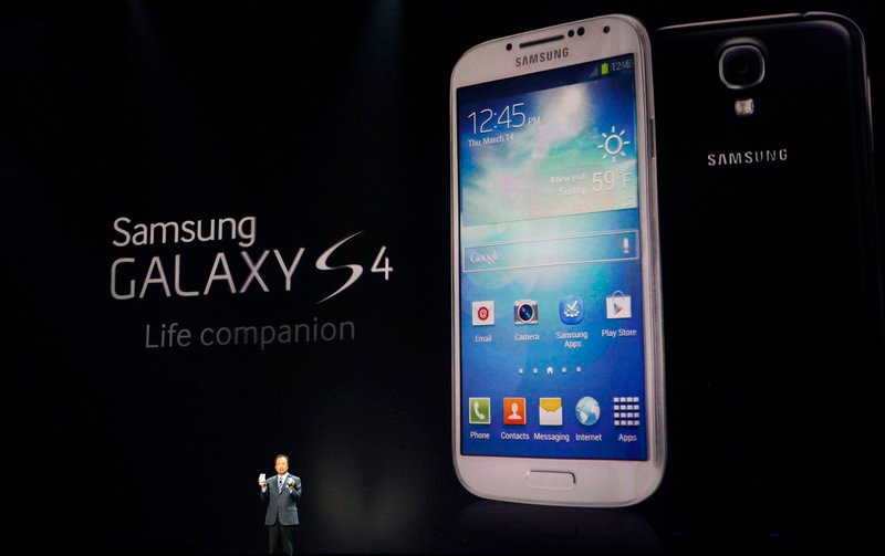 JK Shin, president and head of IT and mobile communications for Samsung Electronics, unveils the company's latest smartphone at Radio City Music Hall.