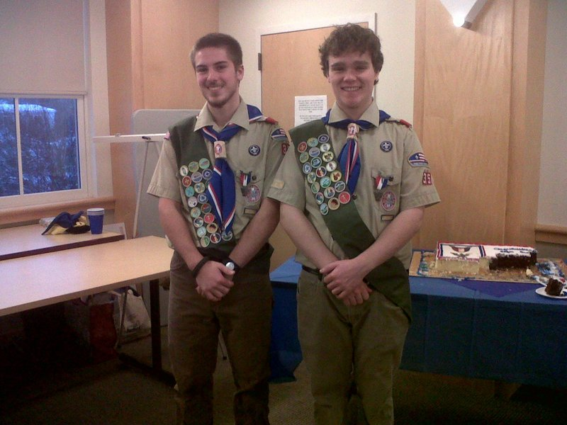 Yarmouth Boy Scouts Devon Bray and Kellen Thompson achieved the rank of Eagle Scout, along with Wes Crawford, a fellow member of Troop 35.