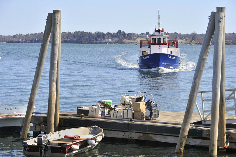 The Chebeague Island ferry Islander approaches the pier on Cousins Island on a recent run.