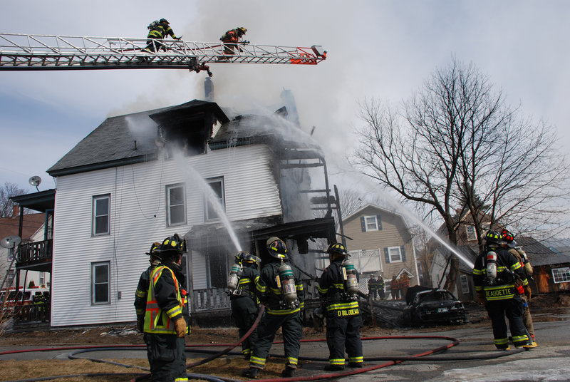 More than 60 firefighters from six towns responded to Saturday's blaze at 39 Church St. in Jay.