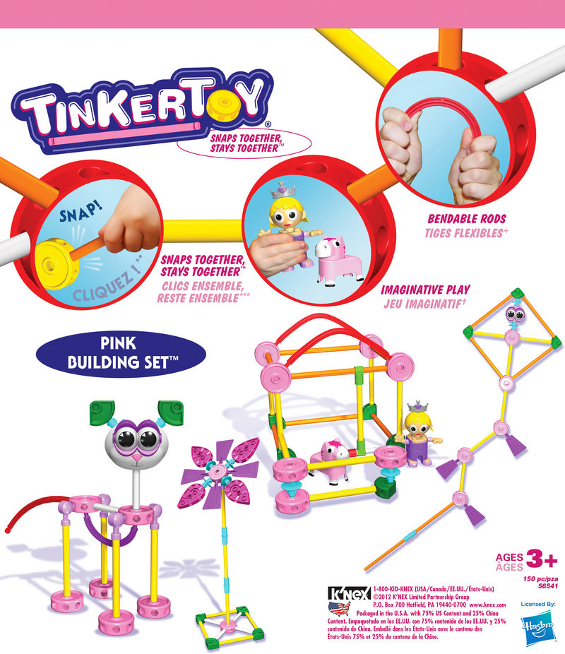 Retro toys like Tinkertoys have seen a resurgence and are now made of high density plastic, with pink versions just for girl builders.