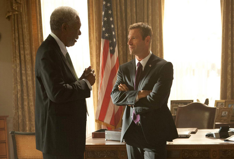 """Morgan Freeman and Aaron Eckhart in a scene from the White House hostage thriller """"Olympus Has Fallen."""""""