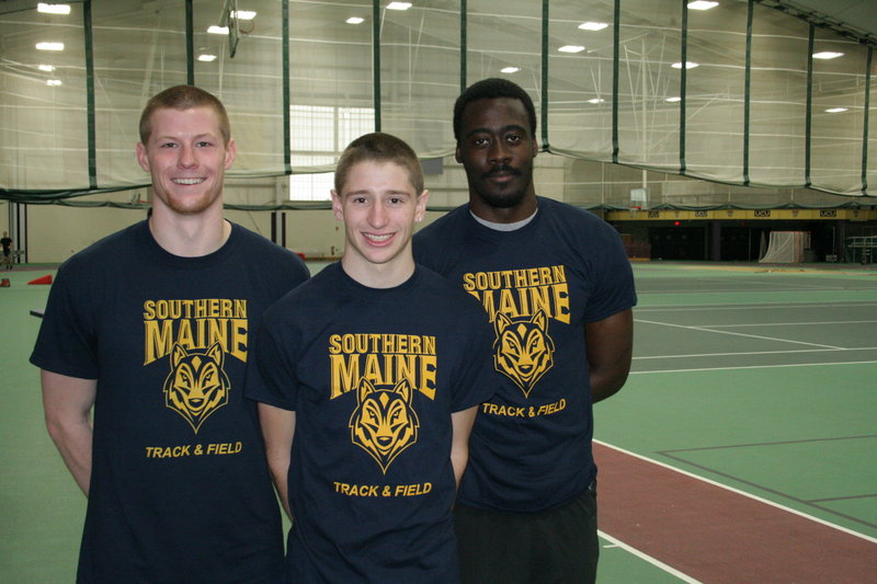 The University of Southern Maine was represented by three athletes at the NCAA Division III outdoor track championships – from left, Jamie Ruginski, Kevin Desmond and Sheldon Allen. Desmond earned All-American.