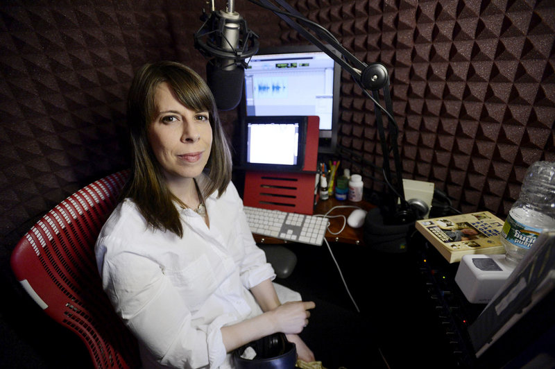 """Tavia Gilbert in the home studio in Portland where she records audio books, most recently """"Let Me Stand Alone"""" by Rachel Corrie."""