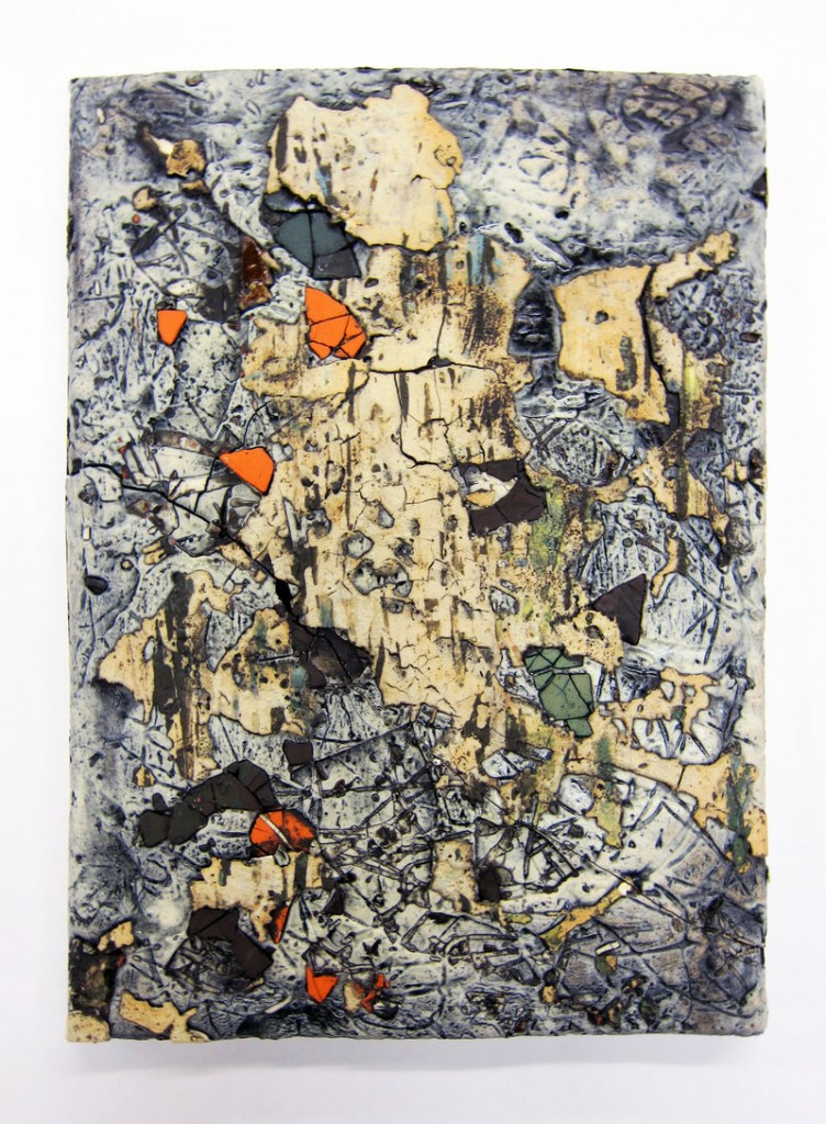 """""""Large Traces Tile No. 6,"""" various clays, glazes and stains."""