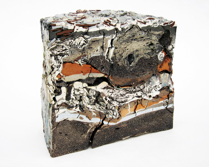 """""""Landfill No. 43: Central Cross Section,"""" above, various clays, glazes and stains."""