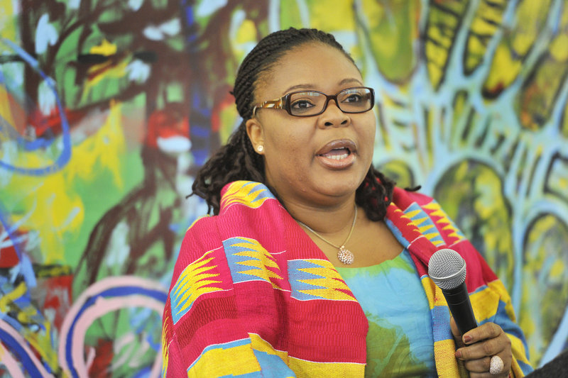 Leymah Gbowee of Liberia, who received the Nobel Peace Prize in 2011, spoke to students, teachers and employees at CIEE, a Portland-based nonprofit that focuses on international education and employment.