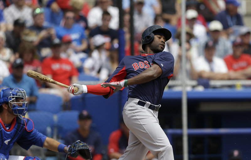 Former Sea Dog Jackie Bradley Jr. continued his torrid hitting in Friday's exhibition loss to Toronto, stroking a double and maintaining his spring training batting average at .429.