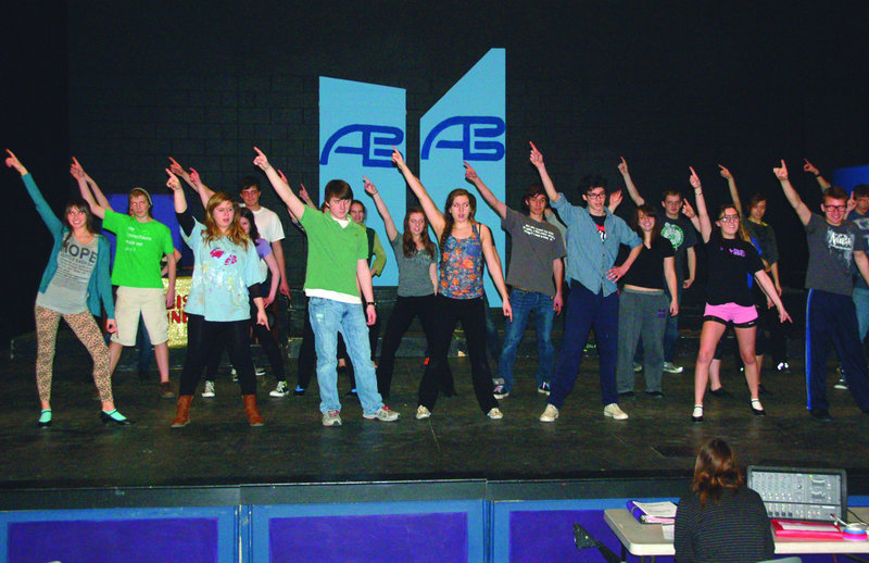 """Marshwood High School drama students rehearse scenes from their musical, """"Disco Inferno,"""" which will be performed Friday and Saturday and April 5 and 6 at the South Berwick school's auditorium."""