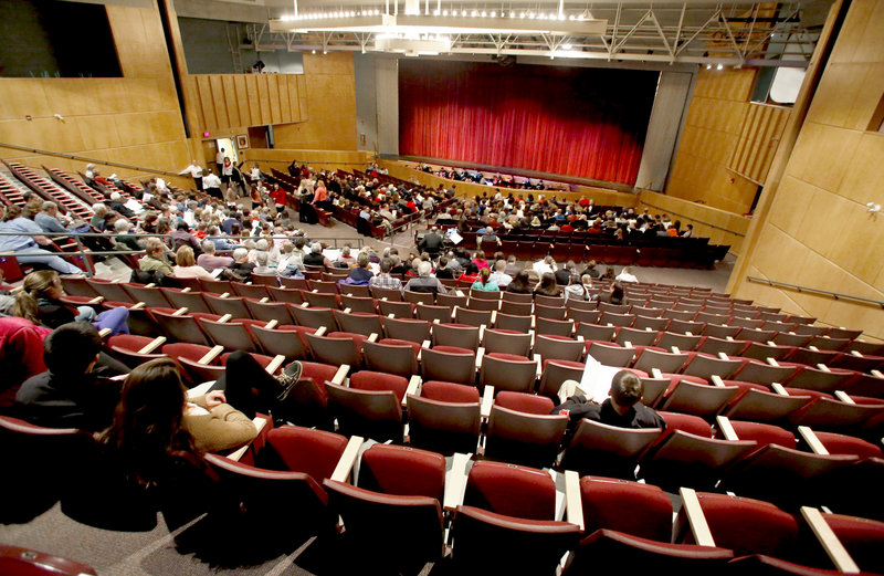 """There were many seats available near the back of the South Portland High School auditorium just before the start of the performance of the musical """"Thoroughly Modern Millie"""" on Friday. The school could not advertise the production because of licensing restrictions."""