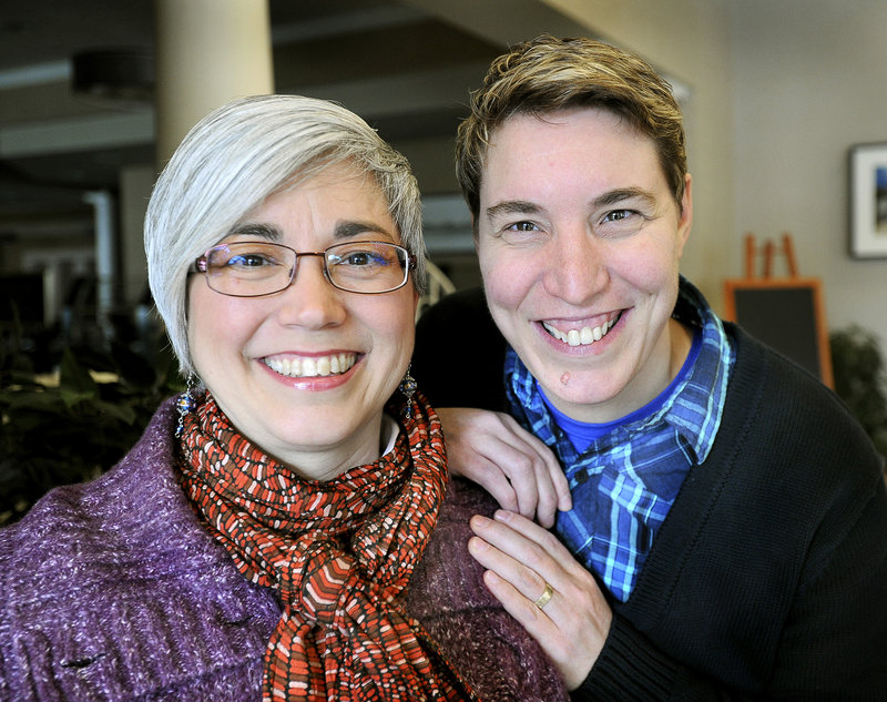A court ruling overturning the federal Defense of Marriage Act would simplify tax filing for same-sex Maine couples like Lisa Ward, left, and Mel Cloutier of Lisbon.