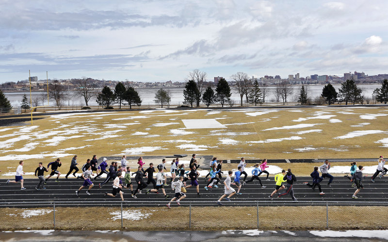 The Cheverus track and field team was off and running on the first day of practice Monday. It won't be long – barring a late storm, of course – before the grass turns green and chilly practice sessions become meets, games and matches.