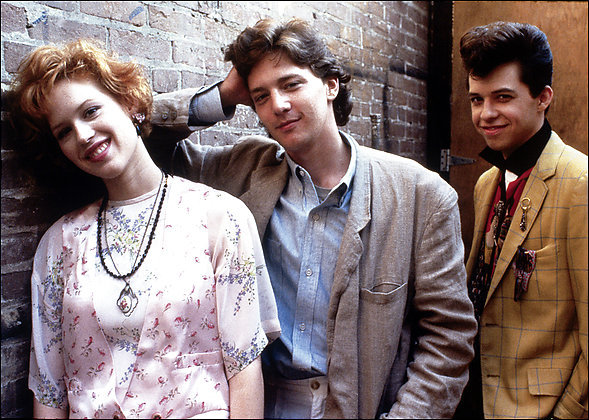 """Molly Ringwald, Andrew McCarthy and Jon Cryer in """"Pretty in Pink."""""""
