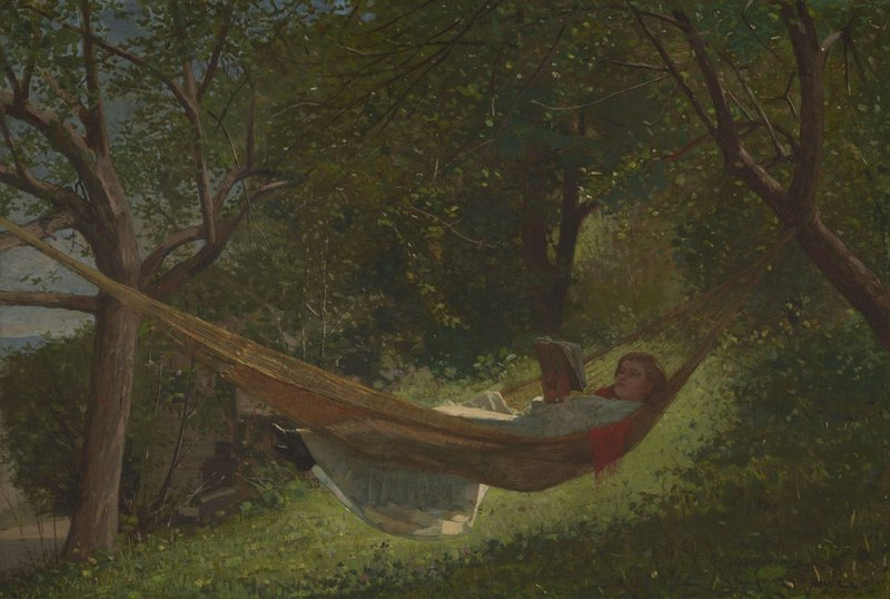 """Among the hundreds of pieces in the Lunder collection, """"Girl in a Hammock,"""" 1873 oil on canvas by Winslow Homer."""