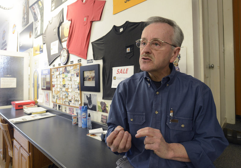 Paul Poliquin, 59, a Lisbon Street merchant and former Lewiston city councilor, pictured on Wednesday March 28, 2013, says that he believes Lewiston has outgrown its reputation as a welfare hub.