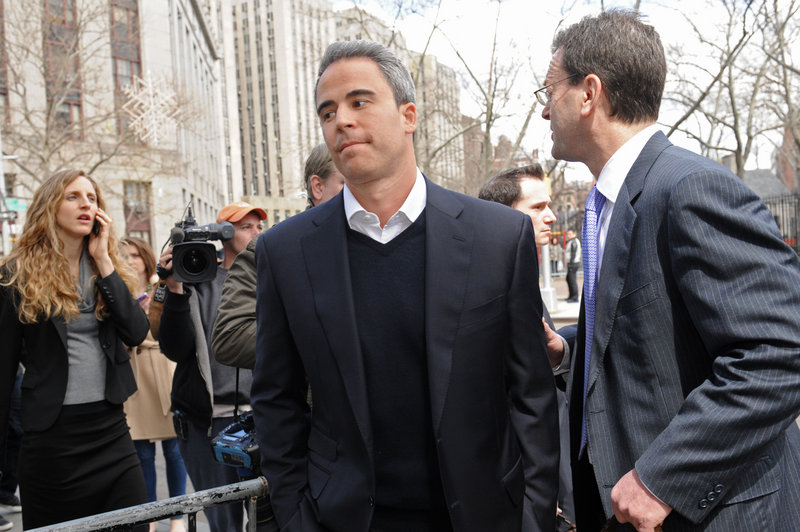 Michael Steinberg, left, leaves federal court with his attorney, Barry Berke.