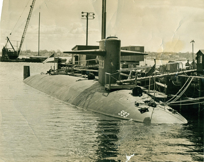 This photograph of the USS Thresher was probably taken in Newport, R.I. It was the nation's newest and most advanced nuclear submarine.