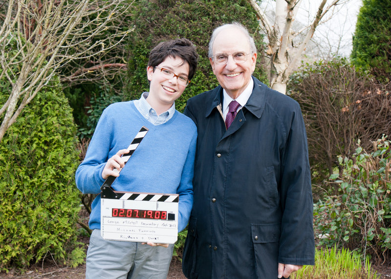 Former Maine U.S. Sen. George Mitchell poses with his son, Andrew, during their trip to Northern Ireland last year.