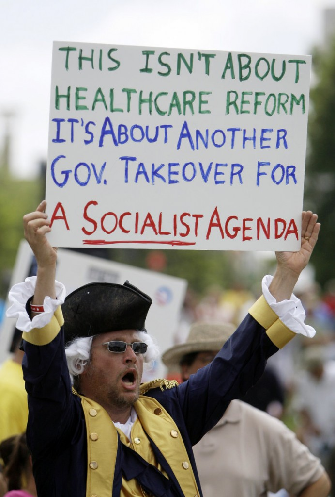 James Newman protests President Obama's health care program during a 2009 rally in Atlanta. Many in the South are opposed to the program.