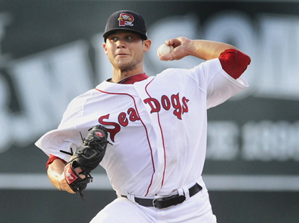 Drake Britton on the mound for the Portland Sea Dogs in a game vs. the Binghamton Mets at Hadlock Field on Aug. 25, 2012.