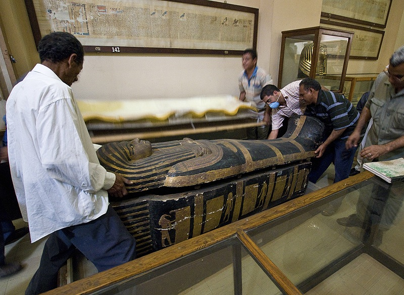The mummy Hatiay's sarcophagus is closed after Hatiay underwent CT scanning. Scans of 137 mummies showed evidence of hardened arteries in about a third of them.