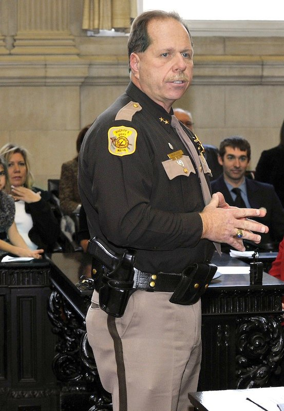 In January 2011 file photo, Cumberland County Sheriff Kevin Joyce. A veteran Cumberland County sheriff's detective is suing Joyce, the county and the chief deputy, claiming he was retaliated against for complaining about an alleged assault on an inmate and voicing support for one of Joyce's potential opponents.
