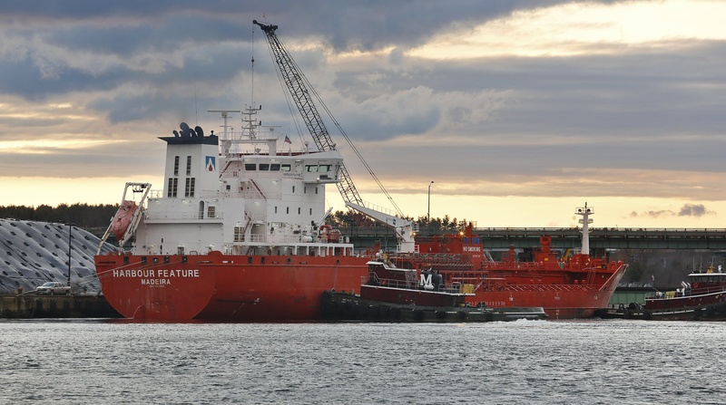 The tanker Harbour Feature is shown docked in the Piscataqua River after hitting the Sarah Mildred Long Bridge between Kittery and Portsmouth, N.H., on April 1.