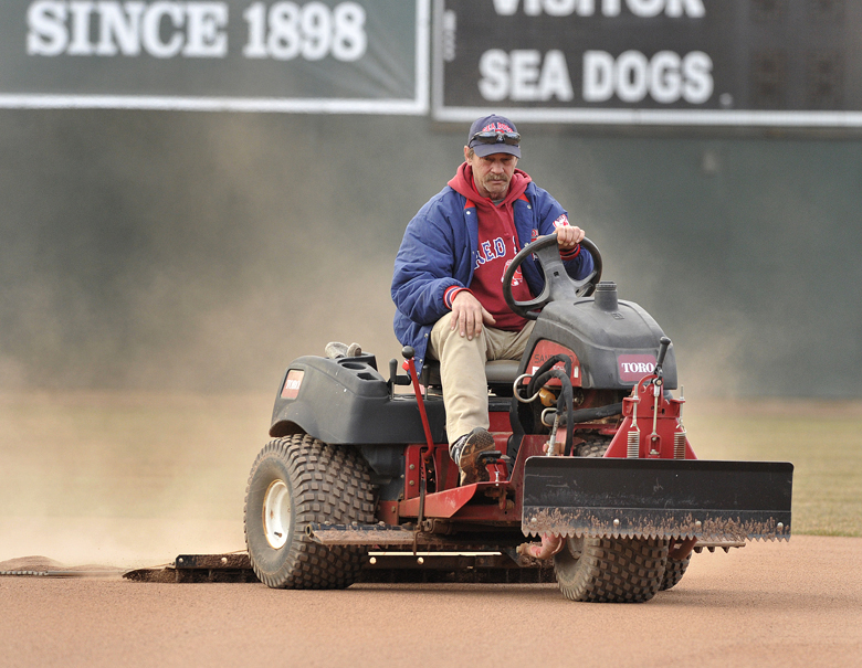John Ewing/staff photographer... Friday, April 5, 2013....Rick Anderson has been the Sea Dogs' head groundskeeper for all of the team's 20 years.