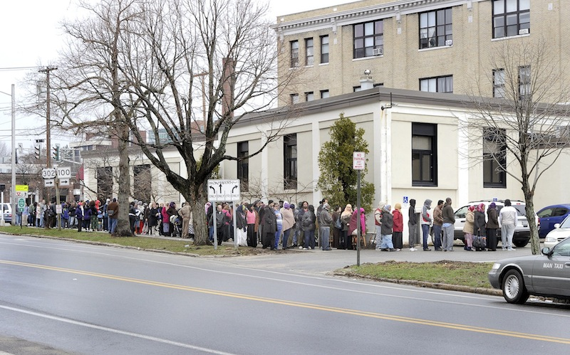 Hundreds of people line up at the Portland Housing Authority on Baxter Boulevard on Wednesday morning as the authority opened its Section 8 waiting list for the first time in three years.
