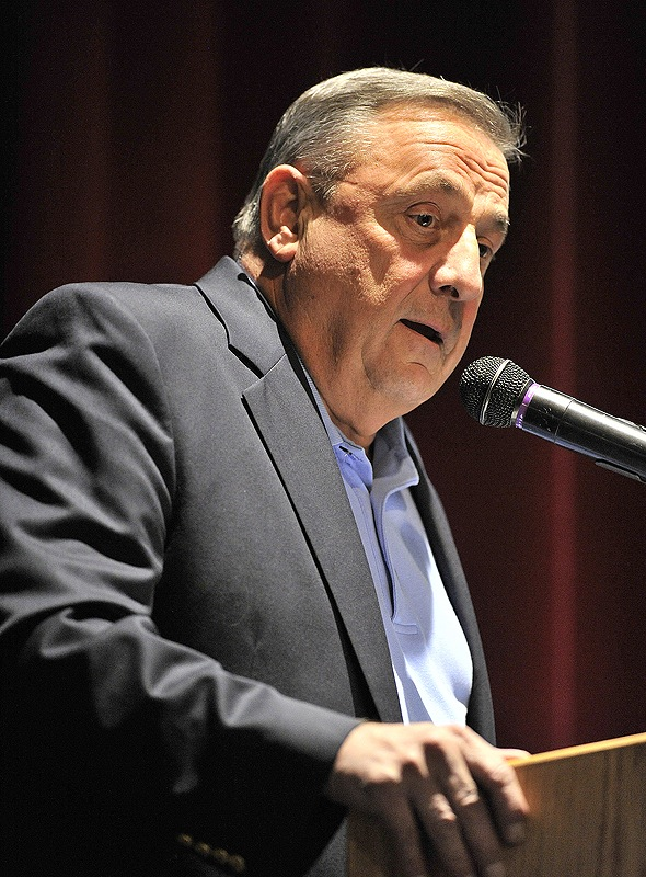 Gov. Paul LePage draws parallels between stringent local zoning codes and what some see as an oppressive U.N. Agenda 21 at a rally Saturday night in Naples.