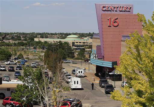 The Century 16 cinema east of the Aurora Mall in Aurora, Colo., where James Holmes allegedly killing 12 people and injuring 70 last July.