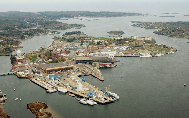 The Portsmouth Naval Shipyard in Kittery is seen on an Island between New Hampshire, right, and Maine in this May 2005 file photo. Any talk of a new Base Realignment and Closure process is likely to raise concerns about the Maine shipyard. (AP Photo/Jim Cole)