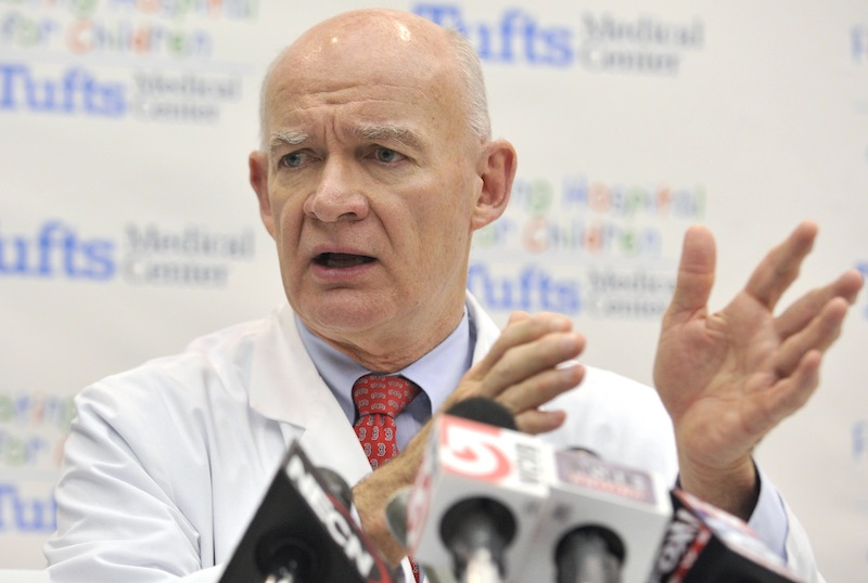 Dr. William Mackey, chair of surgery at Tufts Medical Center in Boston, describes the shrapnel removed from bombing victims to reporters at the hospital, Tuesday, April 16, 2013. Mackey was among the staff who treated the 14 patients injured in the bombing at the finish of the Boston Marathon who were treated at Tufts. (AP Photo/Josh Reynolds)