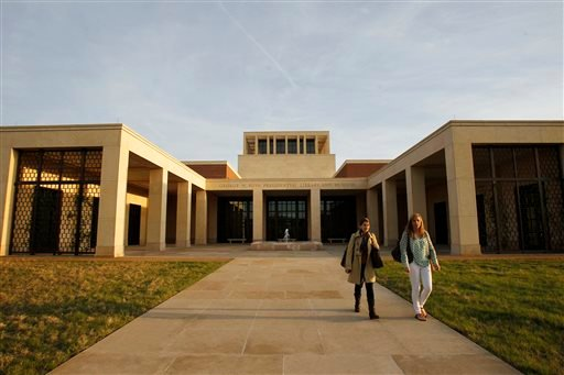 The exterior of the George W. Bush Presidential Center in Dallas. The roughly 227,000-square-foot center built on the campus of Southern Methodist University houses Bush's presidential library, a museum and a policy institute. The dedication of the center will be on Thursday.
