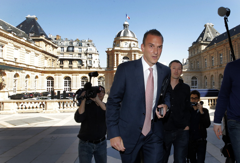 The head of the U.S. Anti-Doping Agency, Travis Tygart, arrives for a senate-led inquiry into the fight against doping in Paris, France, on Thursday. The hearings are aimed at looking into ways of improving the fight against doping.