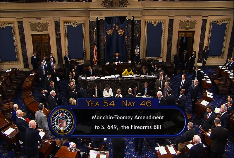 This video image from Senate television shows the final vote total on gun control legislation that was defeated in the Senate Wednesday, April 17, 2013, at the Capitol in Washington. Senate Republicans backed by a small band of rural-state Democrats scuttled the most far-reaching gun control legislation in two decades, rejecting calls to tighten background checks on firearms buyers as they spurned the personal pleas of families of the victims of last winter's mass elementary school shooting in Newtown, Conn. (AP Photo/Senate Television)