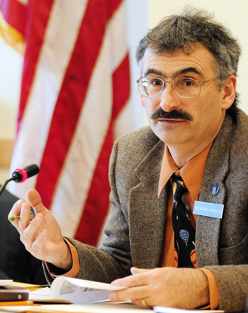 Marine Resources Committee co-chair Rep. Walter Kumiega, D- Deer Isle, speaks during a work session on Wednesday April 3, 2013 in the Cross State Office Building in Augusta.