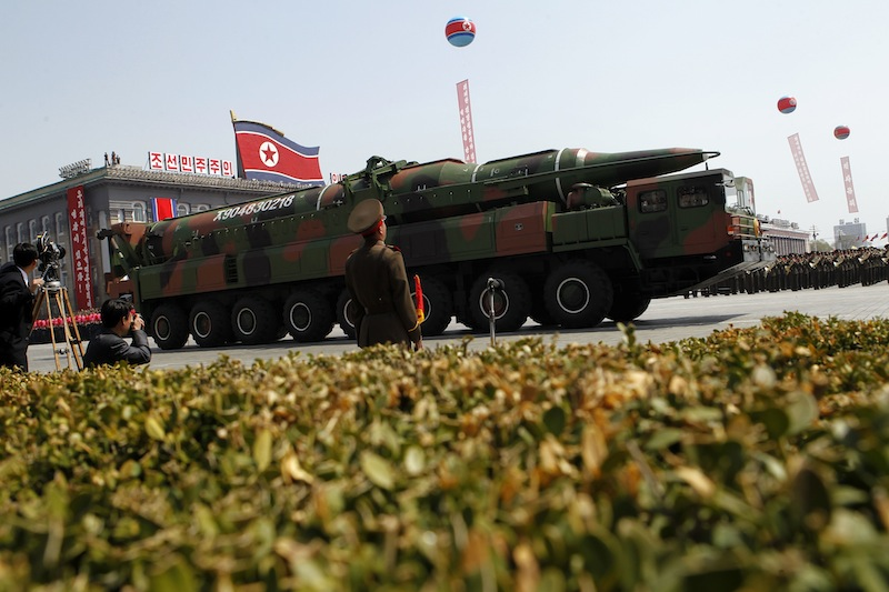 In an April 2012 photo, a North Korean vehicle carries what appears to be a new missile in a military parade in Pyongyang. North Korea has moved a missile with