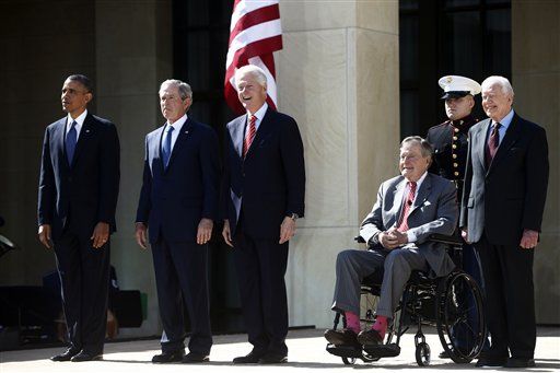President Barack Obama stands with former Presidents George W. Bush, Bill Clinton, George H.W. Bush, and Jimmy Carter at the dedication of the George W. Bush Presidential Center on Thursday.