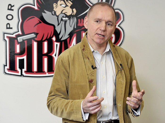 Brian Petrovec, managing owner of the Portland Pirates hockey team, announced a multi-year partnership with the Cumberland County Civic Center at a press conference on Wednesday.