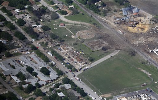 This photo taken on Thursday shows the remains of a nursing home, left, apartment complex, center, and fertilizer plant, right, destroyed by the explosion in West, Texas.