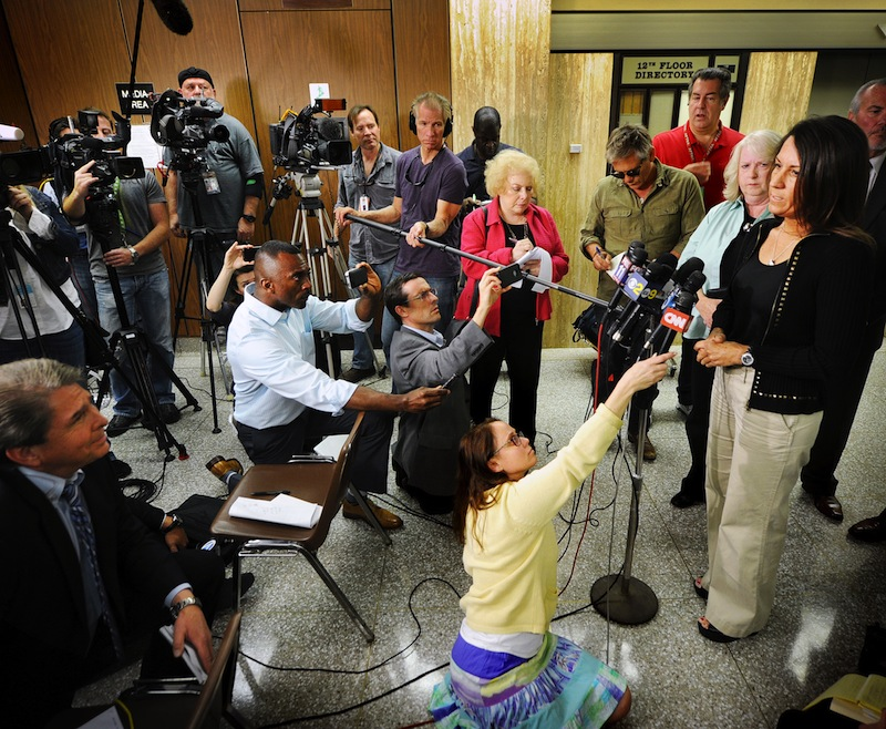 Ellen Sohus sister of murder victim John Sohus talks during a news conference after a jury found Christian Karl Gerhartsreiter guilty of first-degree murder in the 1985 San Marino killing on Wednesday, April 10, 2013 in Los Angeles. The verdict was reached Wednesday after the jury deliberated about a day. Testimony in the cold-case trial of Gerhartsreiter focused on the discovery of the bones of John Sohus long after he and his wife disappeared from his mother's home in San Marino, a wealthy Los Angeles suburb. The defendant, a German immigrant with delusions of grandeur, rented a cottage at the Sohus home in 1985 then disappeared about the same time as Sohus and his wife Linda who was never found. (AP Photo/San Gabriel Valley Tribune, Walter Mancini)