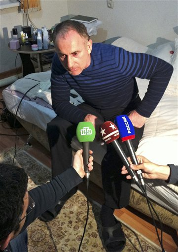 Anzor Tsaraev, the father of the Boston bomb suspects, speaks to the media on Friday at his home in Makhachkala, the capital of Dagestan, a predominantly Muslim republic in southern Russia.