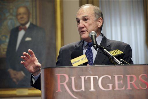 Rutgers University President Robert Barchi announced on Friday that he accepted the resignation of athletic director Tim Pernetti Barchi is visiting the school's Newark campus on Monday to hold a town hall meeting that had been planned for last week but was postponed after a video surfaced showing basketball Coach Mike Rice pushing players, throwing basketballs at them and berating them with invectives, including gay slurs.