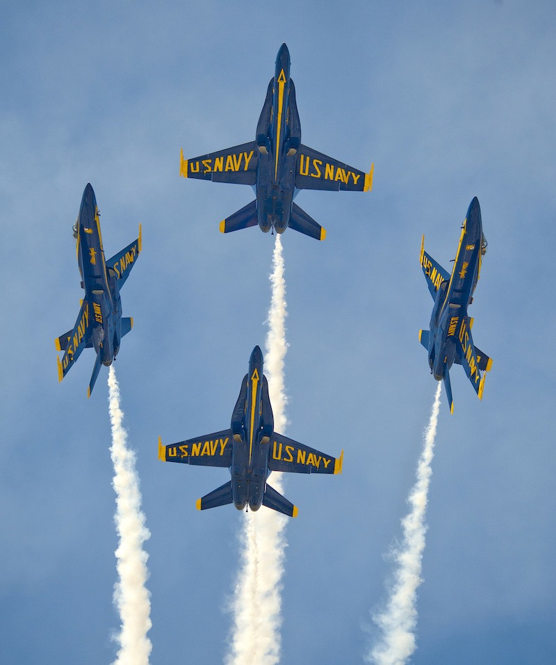 In this Saturday, March 23, 2013 file photo provided by the Florida Keys News Bureau, the U.S. Navy's Blue Angels perform their precision aerobatics over the Florida Keys during the Southernmost Air Spectacular at Naval Air Station Key West, in Key West, Fla. The commander of Naval air forces announced on Tuesday, April 9, 2013 that the U.S. Navy has canceled the remainder of the elite Blue Angels demonstration team's 2013 season because of federal cuts. (AP Photo/Florida Keys News Bureau, Rob O'Neal, File)