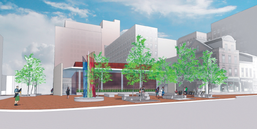 An architect's rendering of the redesigned Congress Square Plaza proposal shows a glass-and-stone addition to the nearby hotel, and a park with 40 feet of frontage along Congress Street.