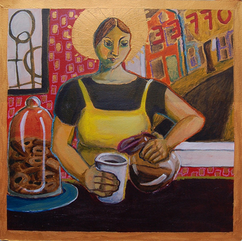 """""""Santa Barista,"""" oil pastel on acrylic by Alison Goodwin, from """"Go Figure: An Invitational Figurative Show,"""" the current exhibition continuing through April 27 at Greenhut Galleries in Portland."""