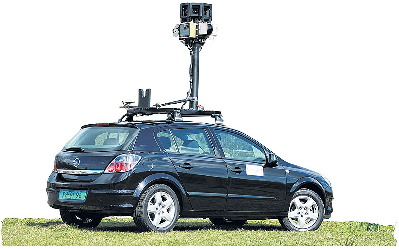 Google Maps Street View, created with cars bearing cameras like this, helps Lithuanian officials identify suspected tax dodgers.