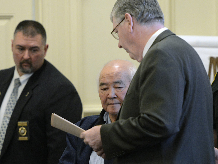 In this December 2012 photo, James Pak and his attorney Joel Vincent.